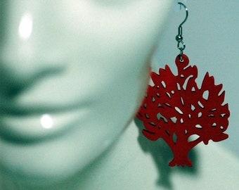 Red Tree of Life Earrings