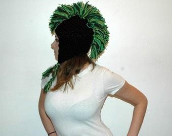 Green and Black Mohawk  Ear Flap Hat