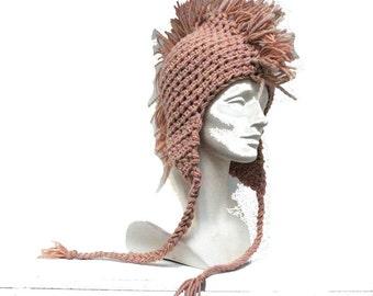 Tan Mohawk  Ear Flap Hat