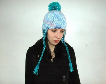 Periwinkle Blue and Teal Pom Pom  EarFlap Hat