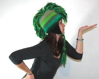 Green Ombre Fade Mohawk Earflap Hat