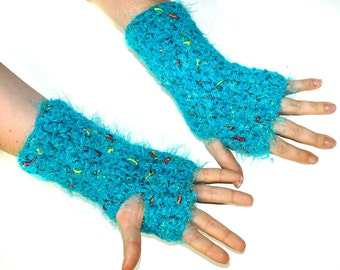 Teal Fuzzy Fingerless Gloves