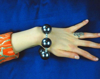 Huge Charcoal Grey Pearl Bracelet