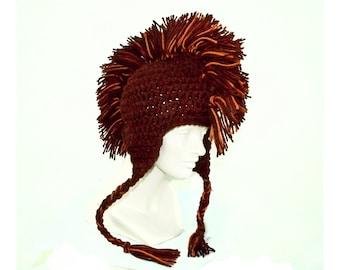 Brown Mohawk  Earflap Hat