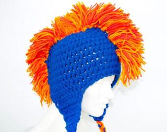 Navy Hat Bright Orange Mohawk Earflap Hat Chicago Bears Colors