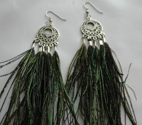 Celtic CircleThe Peacock Feather Drop Dangle Earrings