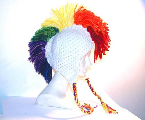 White Rainbow Mohawk Ear Flap Hat