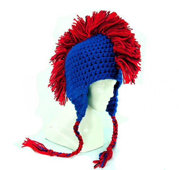 Red and Blue Mohawk Ear Flap Hat Chicago Cubs Colors