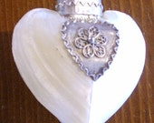 Vintage Heart-Shaped Mother of Pearl and Silver Lidded Case