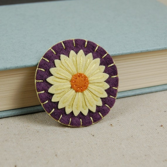Wool Felt Flower Brooch Pin - Yellow & Orange Daisy Hand Embroidered on Vineyard