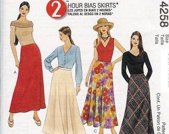 UNCUT McCall's Pattern 4258 - Misses/Miss Petite Two-Hour Bias Skirts - 4-10