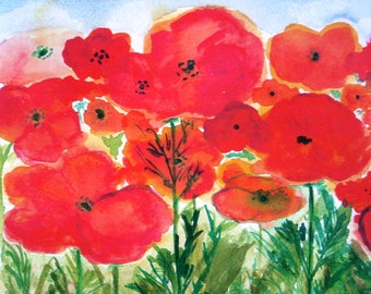 Whimsical Colorful Red Poppies at St. Remy Print - Bright Flowers to Perk Up Your Private Space