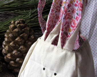 Rabbit Bag, bunny Rabbit printed cotton lining and ears, fabric basket, easter basket, freemotion sewn features. animal bag, animal gift bag