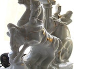 White Lamp Chariot Horses Soldier & Maiden China Porcelain Gilded 1930s Novelty Figural