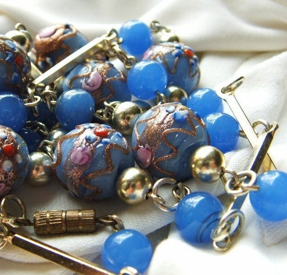 RESERVED for Shannon ..Vintage Necklace Wedding Cake Blue Art Glass Beads