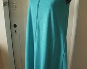 Vintage 1970s Tent Dress Tuftees Teal Terry Cloth Cover-up  Medium