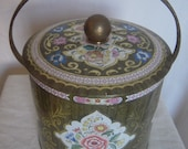 Vintage Shabby Chic Daher Floral Tin with Handle Made in England