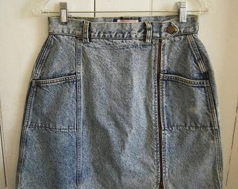 1980s Acid Washed Jean Skirt Palmetto's  High Waisted Sexy Side Metal Zipper Up size 11