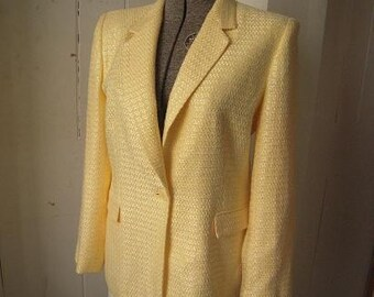 Vintage Josephine Chaus Butter Yellow Linen Blazer Suit Jacket Size 10