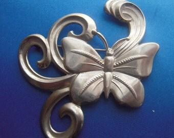1930s 1940s Art Deco Brooch Large Butterfly Moth Silver