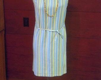 Vintage 1960s Cotton Pique Sheath Shift Dress Boat Neck Vertical Stripes with Matching Belt Medium