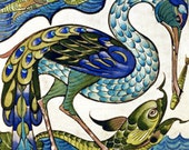 Heron and Dolphin by William de Morgan on mono deluxe Needlepoint Canvas