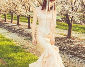 SAMPLE SALE Fishtail Fairy Mermaid Silk Gown with Ruffles Small