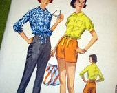 1950s Vintage Sewing Pattern - Women Sewing Pattern - Cigarette Pants - Shorts - Blouse - McCall's 4159