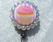 Cupcake - Pink and White Stripes ID Badge Holder