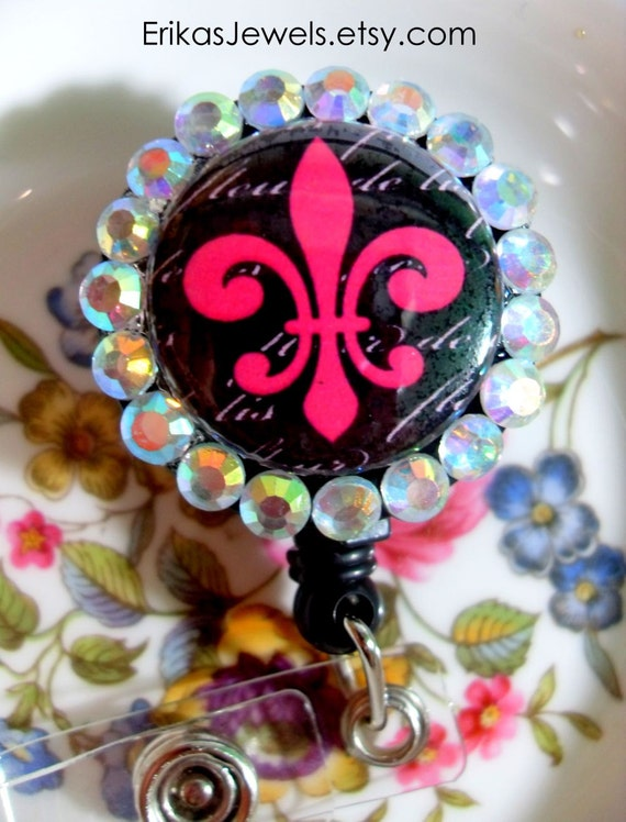 Pink fluer de lis with black background ID Badge Holder - Limited Edition - Last One