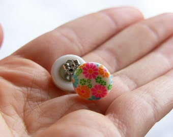 Floral Stud Earrings -- Round Plastic Disc Studs -- Bright & Colorful Flower Post Earrings -- UK Shop
