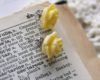 Yellow Rose Stud Earrings -- Buttercup Yellow Flower Posts -- Cute Summer Florals