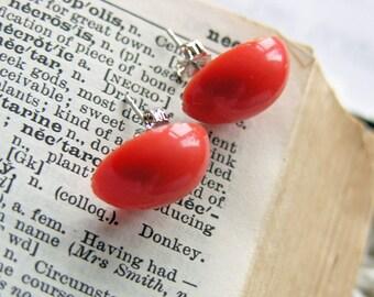 Orange Stud Earrings -- Large Vintage Plastic Cabochons -- Round Oval Shapes in Plain Orange -- Retro Pop -- UK