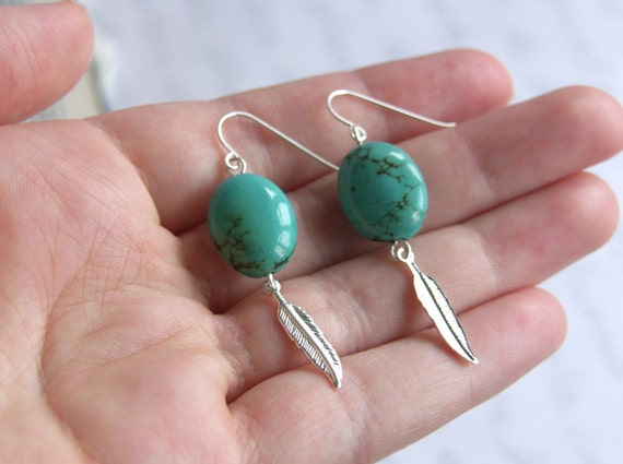 Turquoise Bead Earrings -- Silver Leaf Charms -- Green Beaded Drops -- Sterling Silver Hooks -- UK Shop