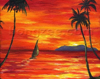 Red Sky At Night Sailor's Delight 4x4 Original Oil Painting Art Sunset Tropical Palm Tree Ocean Hawaii Sailboat Sailing Sail Bamboo Easel