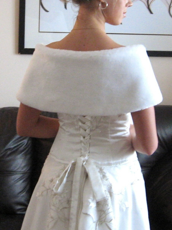 Ready to ship! Pure- white Wedding Wrap & Muff