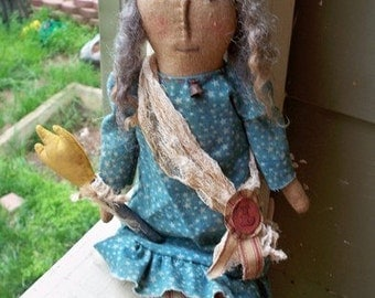 PDF Downloadable Pattern - Primitive Liberty Lady Doll - E-Pattern - Hafair