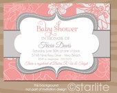Coral and Gray Baby Shower Invitation, Baby Girl Shower, Grey Floral - Printable Digital Diy or Printed