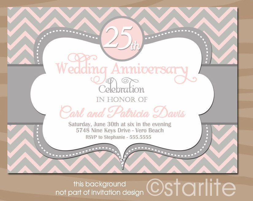 Wedding Anniversary Invitation Pink Gray Invitation by starwedd