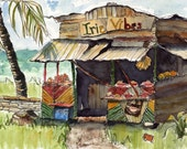 Art Painting Watercolor Tropical Shabby Country Roadside Rural Shack Bar Shop Print