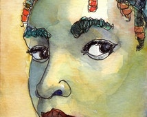 Art Painting Watercolor Black Girl Jamaican Cornrows Beads Portrait Print