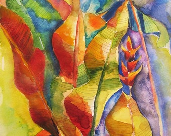 Art Painting Watercolor Tropical Banana Leaves in Jewel Tones PRINT