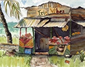 Art Painting Watercolor Tropical Shabby Country Roadside Rural Shack Bar Shop Print