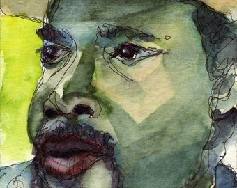 Art Painting Watercolor Portrait Black Man Baseball Cap Jamaican Print