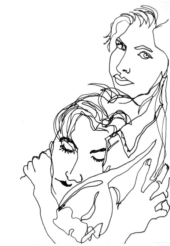 Man And Woman Love Art Ink Drawing Love Woman Man