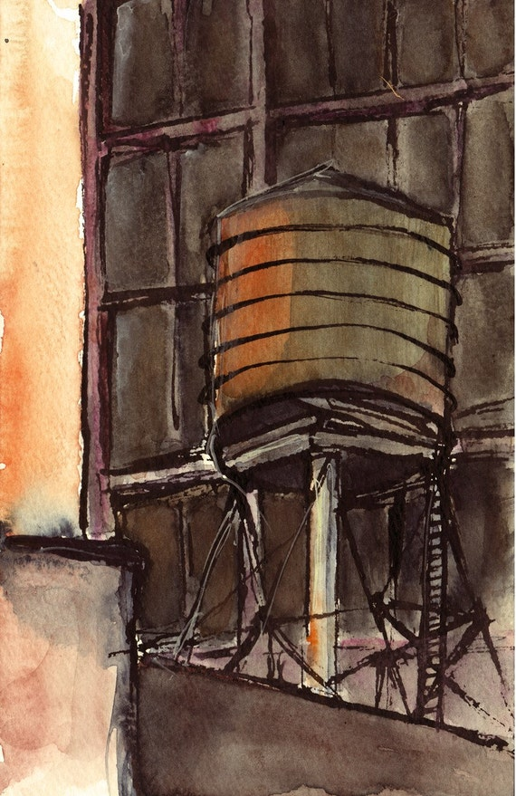 Art Painting Watercolor NYC Water Tower Sunset Rooftop Skyline Print