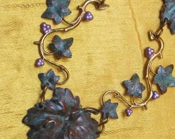 Grape vine necklace womens necklaces Vine yard grapes and ivy vintage verdigris bronze necklaces Art Nouveau