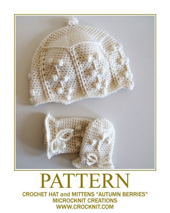 AUTUMN BERRIES Crochet Baby Hat Mittens PATTERN  Instant pdf download