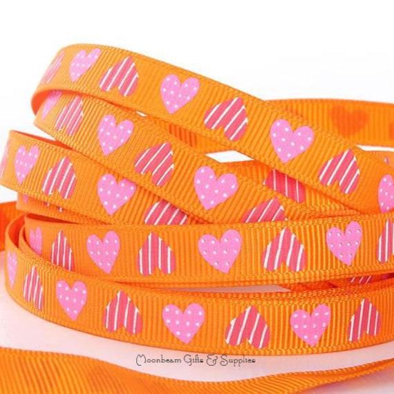 Heart Ribbon, Printed Grosgrain, Back to school, Halloween Ribbon, Heart Grosgrain, Hairbow Ribbon, Holiday Grosgrain, School Colors Ribbon