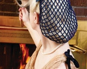 Hair Snood in Navy Blue Crocheted from Vintage 1940's Design  Retro Pinup